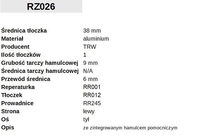 ZACISK HAMULCOWY Fi. 38mm, LEWY