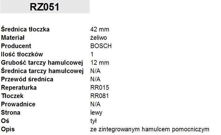 ZACISK HAMULCOWY FI. 42MM, LEWY